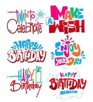 Happy birthday set hand lettering vector design