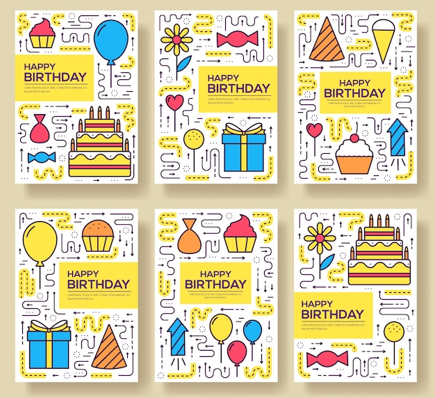 Happy birthday set infographics template concept