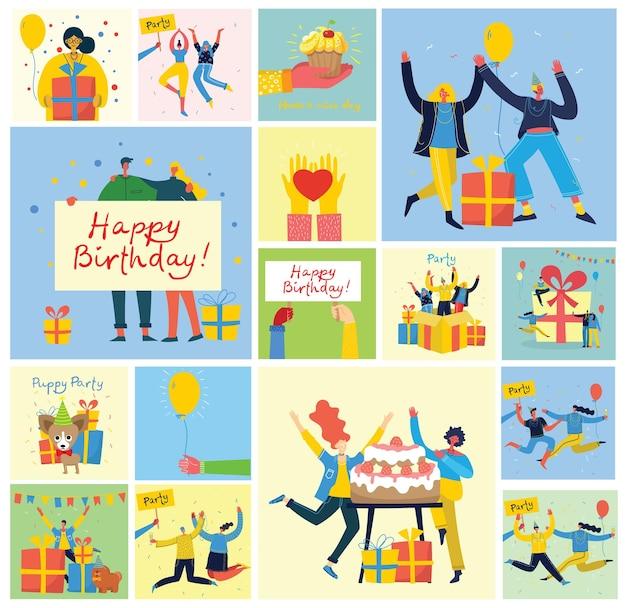 일러스트와 인사말 카드 생일 축하합니다. 점프하는 사람들의 행복 한 그룹