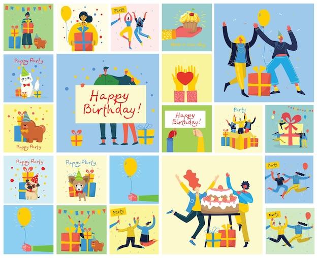 イラストとグリーティングカードでお誕生日おめでとうセット。ジャンプする人々の幸せなグループ