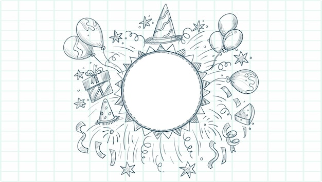 Happy birthday sketch celebration background