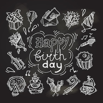 Happy birthday sketch elements on chalkboard