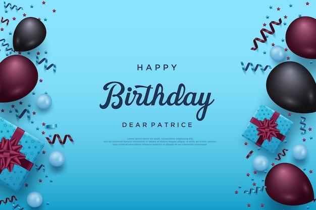 Happy birthday on sky blue background
