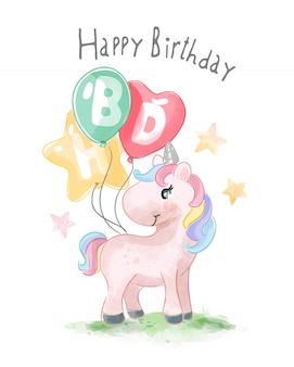 Happy birthday slogan with cute  animal and colorful balloons illustration