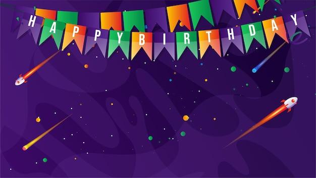 Happy birthday space theme background