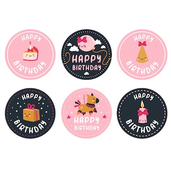 Happy birthday stickers set