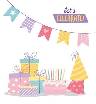 С днем рождения, сладкие пирожные, праздничные шапки, подарочные коробки и вымпелы, украшение праздника, мультфильм