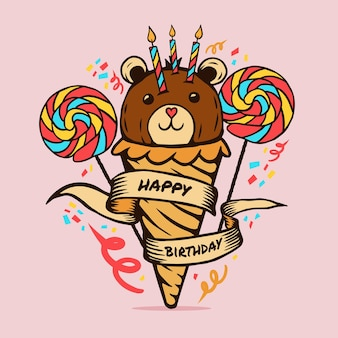 С днем рождения плюшевый мишка мороженое конфеты торт рисунок