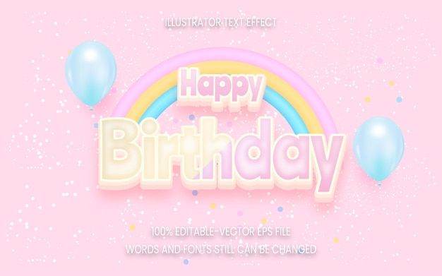 Happy birthday text effect on pink background