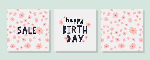 С днем рождения текст цветы письмо праздник баннер карты празднование