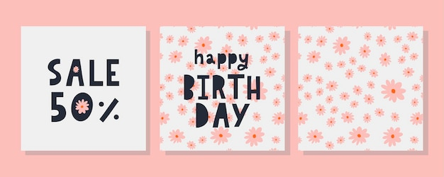 Happy birthday text flowers letter holiday banner card celebration