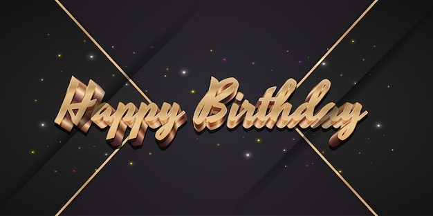 エレガントな黒の背景ときらめく光と3dゴールドスタイルのお誕生日おめでとうテキスト