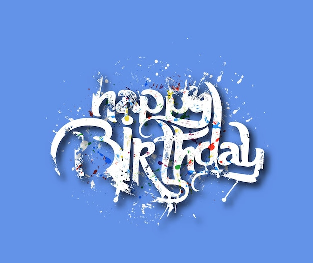 手書きのグランジベクトルデザイン要素で作られたお誕生日おめでとうテキスト。