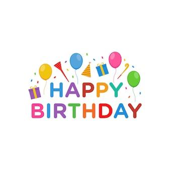 Happy birthday text vector design