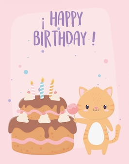 Happy birthday tiger with candy cake celebration decoration card