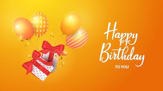 생일 축하합니다 3d 풍선 및 giftbox