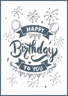 생일 축하합니다 생일 카드 그리기 스타일