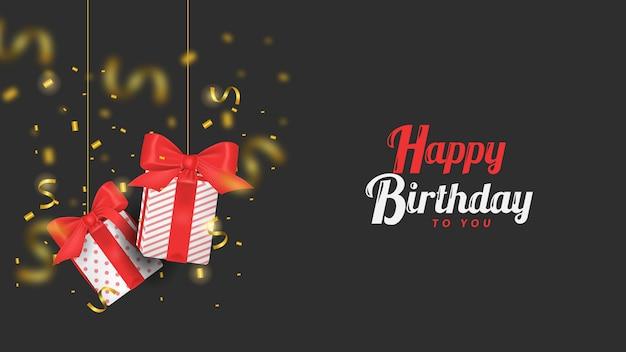 С днем рождения тебя иллюстрация 3d подарочная коробка и конфетти