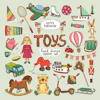 Happy birthday toys set: pinwheel balloon elephant horse