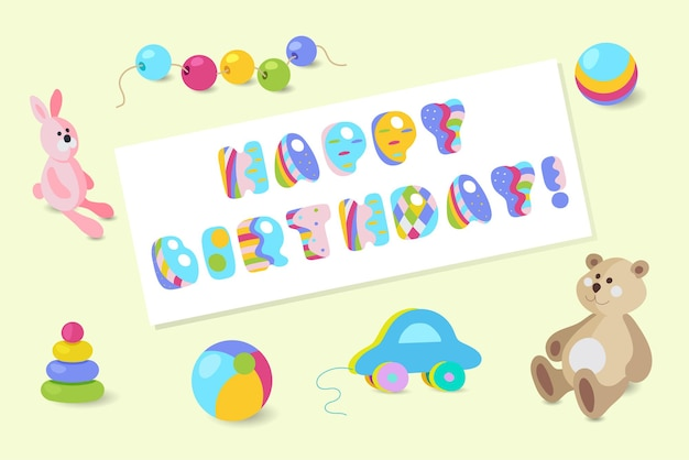 С днем рождения типографский вектор красочные детские игрушки дизайн для поздравительных открыток, приглашений