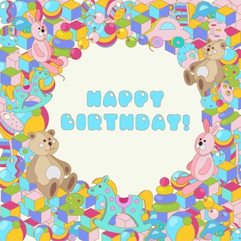 Happy birthday typographic vector colorful cartoon doodles baby toy design for greeting cards