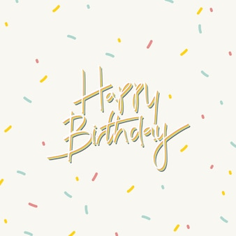 Happy birthday typography on a cream background