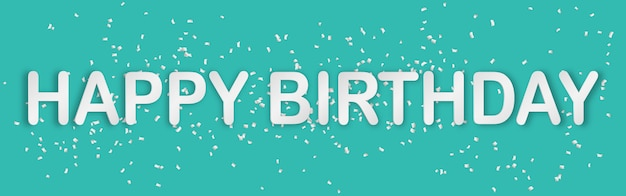 Happy birthday typography paper art style banner green background with  paper confetti