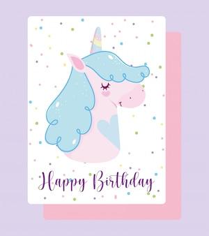 Happy birthday unicorn cartoon rainbow horn dotted background card