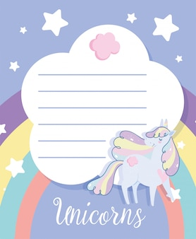 Happy birthday unicorn cartoon rainbow stars celebration invitation card