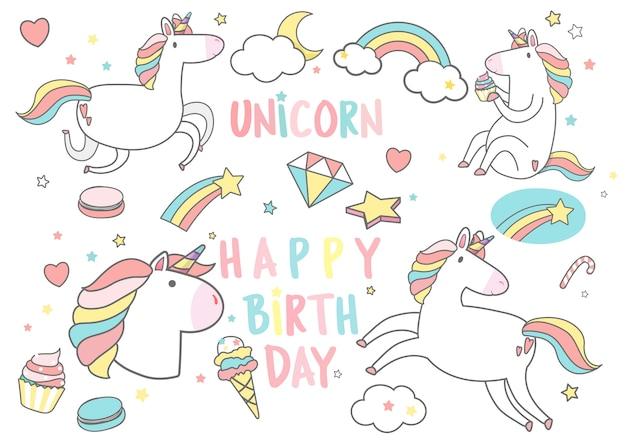 마법의 요소 카드 벡터와 함께 생일 축 하 유니콘