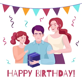 Happy birthday vector card concept with text space. family congratulates dad.