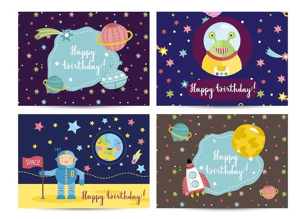 Happy birthday vector cartoon greeting cards set