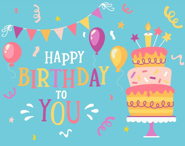 Happy birthday vector design for greeting cards