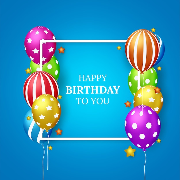 Happy birthday vector greeting card design for invitations and celebration with balloons