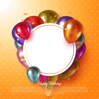 Happy birthday vector greeting card design for invitations and celebration with colorful balloons