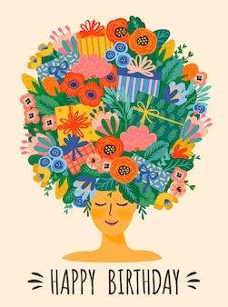 Happy birthday. vector illustration of cute lady with bouquet of flowers and gift boxes on head.