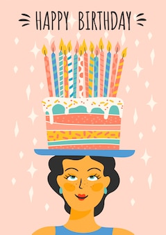 Happy birthday. vector illustration of cute lady with cake on the head.