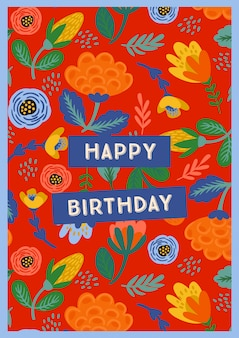 Happy birthday. vector illustration with cute flowers.