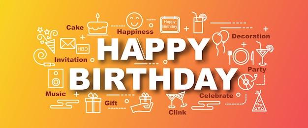 Happy birthday vector trendy banner