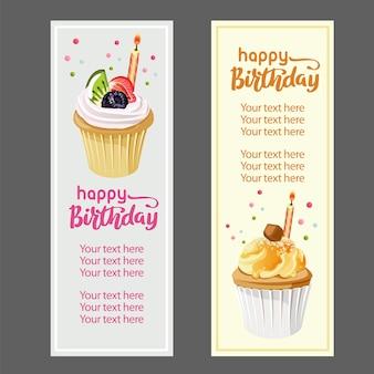 С днем рождения вертикальный баннер с кексом