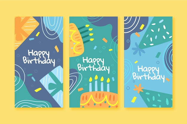 Набор вертикальных баннеров с днем рождения