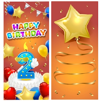Happy birthday vertical card