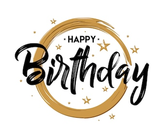 Happy Birthday - Vintage Typography - Handwritten, brush pen lettering, for greeting