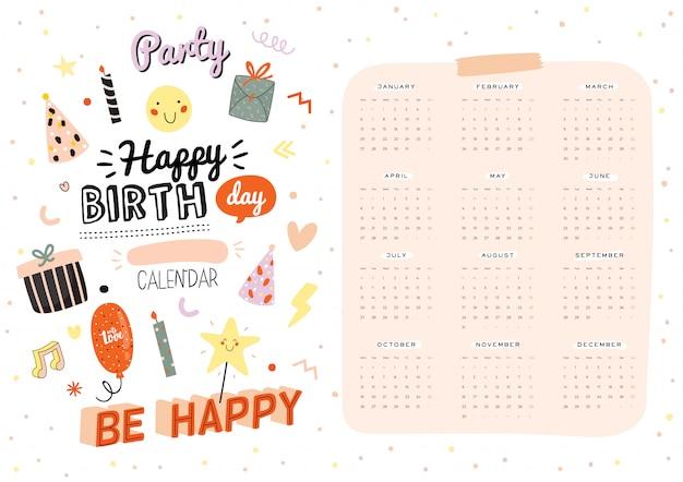 お誕生日おめでとう壁掛けカレンダー。年間プランナーにはすべての月があります。良い主催者とスケジュール。トレンディなパーティーイラスト、休日のインスピレーション引用符付きのレタリング。