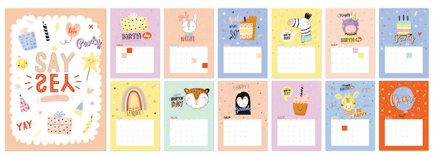 Настенный календарь с днем рождения. годовой планировщик имеет все месяцы. хороший организатор и график. модные иллюстрации для вечеринок, надписи с цитатами о празднике.