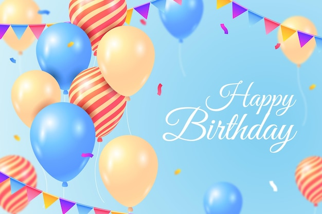 Happy birthday wallpaper with balloons and confetti