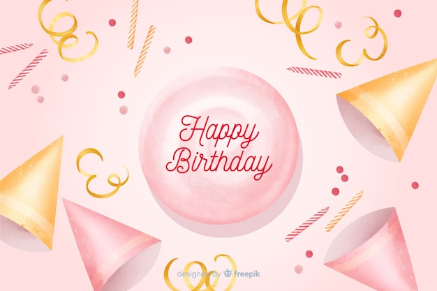 Happy birthday watercolor background with confetti