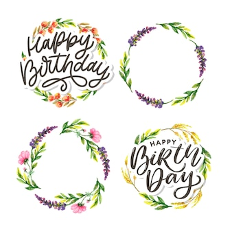 Happy birthday watercolor floral frame set