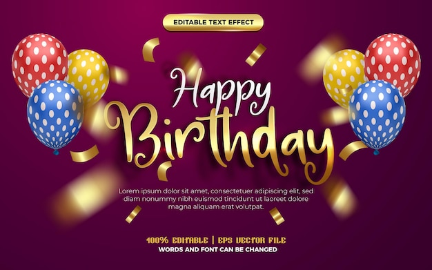Happy birthday white gold handwritten origami paper editable effect style. purple background with colorfull balloon
