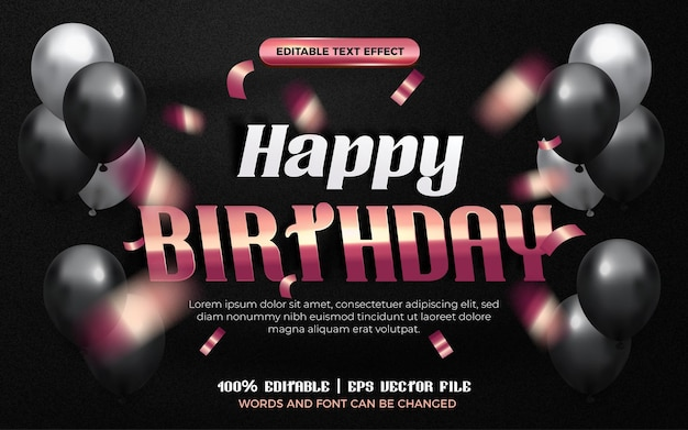 Happy birthday white gold rose origami paper editable effect style. black background with colorfull balloon